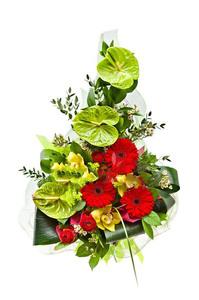 Букет микс с антуриум зелёный, красные герберы и зелень