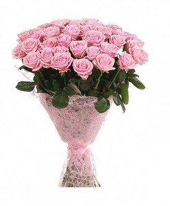 Букет из розовой розы в упаковке