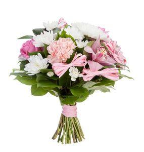 Букет из гвоздики, тюльпановидных роз и зелени