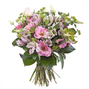 Букет с альстромериями, розами эустомоми