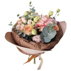 букет из розы одиночной оранжевой,розы кустовой розовой,эустомы и зелени