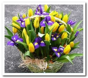 Компазиция в корзинке тюльпаны ирисы
