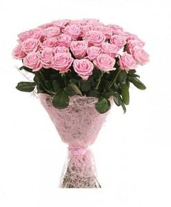 Розовая роза 51шт