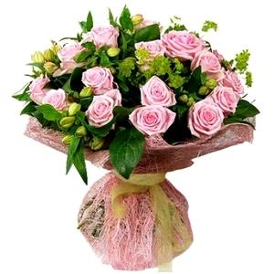 Букет из розы одиночной розовой и зелени